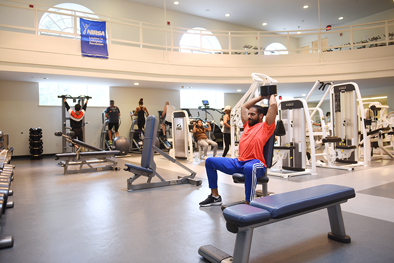 Adelphi students working out in the gym at Adelphi University